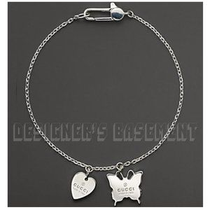 GUCCI 7US silver BUTTERFLY & HEART Charms bracelet